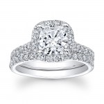 14K White Gold Josette Halo Cushion Diamond Engagement Ring Set