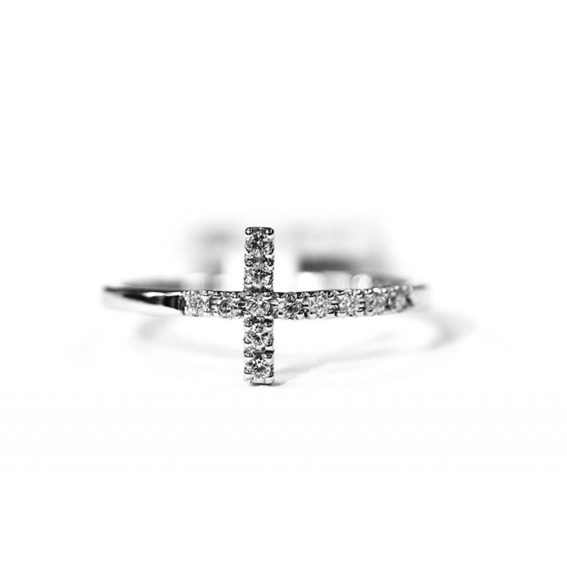 14kt Cross Band Ring in White Gold