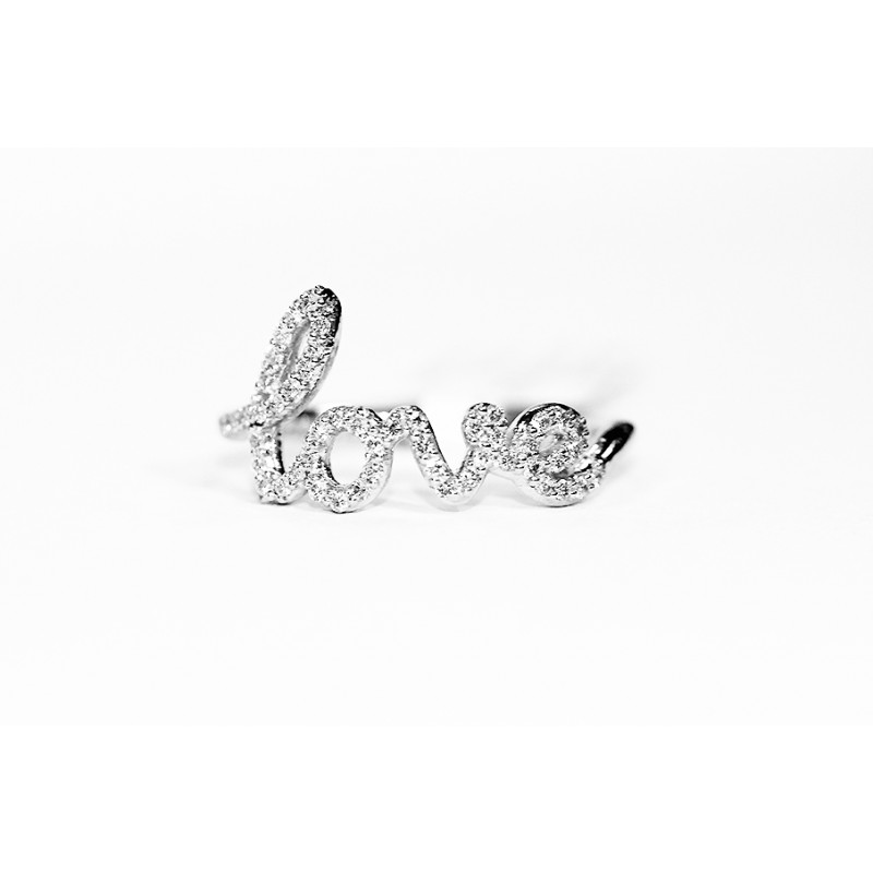 14k Love Ring White Gold