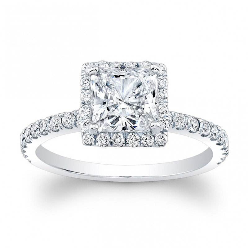 14K White Gold Paloma Halo Diamond Engagement Ring