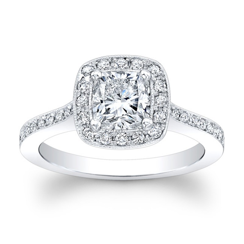 18K White Gold Candice Halo Diamond Engagement Ring