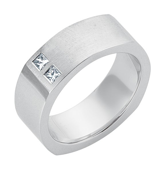 Gentlemen's Princess Cut Gold Band in a Square Design
