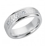 Gentlemen's White Gold Band with Hammered Finish & Diamonds