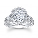 14K White Gold Catarina Halo Diamond Engagement Ring