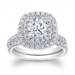 14K White Gold Carlis Halo Diamond Engagement Ring Set