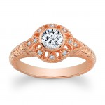 14K Rose Gold Violet Vintage Halo Round Diamond Engagement Ring