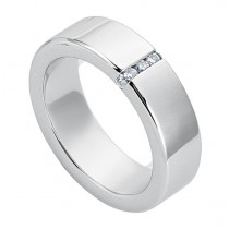 Gentlemen's White Gold Band with Diamonds