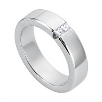 Gentlemen's Classic Polished White Gold Wedding Band with Princess Cut Diamonds