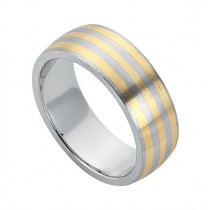 Gentlemen's New Brushed Multiple Layer  Wedding Band in Yellow & White Gold