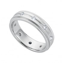 Gentlemen's White Gold Wedding Band in Diamonds With Miligrain Edges