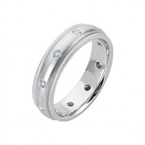 Gentlemen's Satin Brushed Milligrain Edge White Gold Band