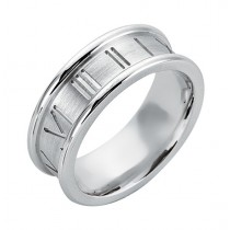 Gentlemen's White Gold Roman Numeral Band