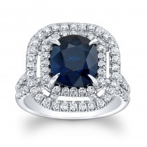 14K White Gold Princess Kate Blue Sapphire Diamond Engagement Ring