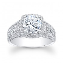 14K White Gold Carolina Halo Diamond Engagement Ring