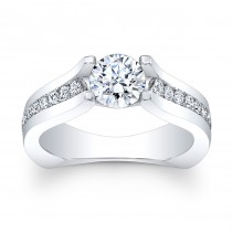 14K White Gold Nova Round Diamond Engagement Ring