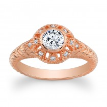 14K Rose Gold Vintage Filigre Ring