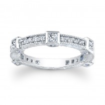 14kt White Gold Band with Princess Cuts Abby