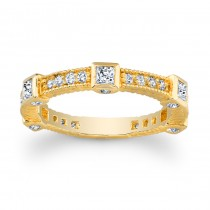 14kt Yellow Gold Band with Princess Cuts Abby