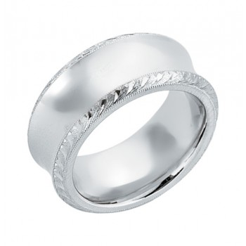 Gentlemen's Wedding Band with Antique Design Engraved in White Gold