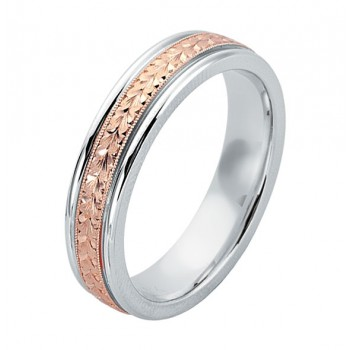 Gentlemen's Rose & White Gold Engraved Wedding Band