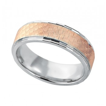 Gentlemen's Rose & White Gold Etched Design Wedding Band