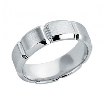 Gentlemen's White Gold Band With Square Cut Out Design
