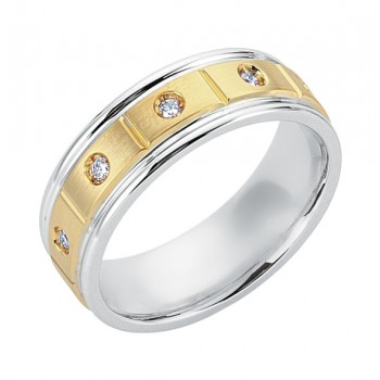 Gentlemen's White & Yellow Gold Wedding Band in Diamonds with a Brushed Finish