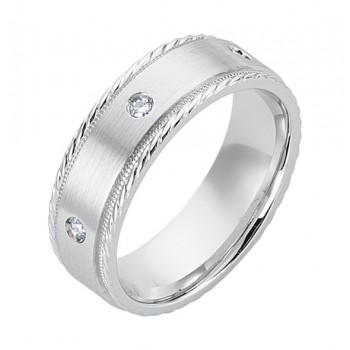 Gentlemen's Elegant Wedding Band in White Gold & Diamonds with Antique Detail