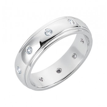 Gentlemen's White Gold Wedding Band with Diamonds