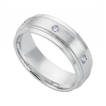 Gentlemen's White Gold Diamond Edge Band