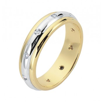 Gentlemen's White & Yellow Gold Band with Diamonds