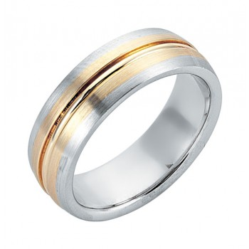 Gentlemen's Modern Brushed Gold Band