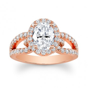 14K Rose Gold Olive Halo Oval Diamond Engagement Ring