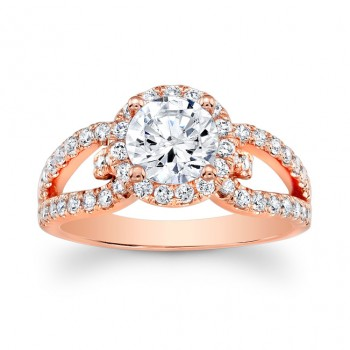 14K Rose Gold Edith Halo Round Diamond Engagement Ring