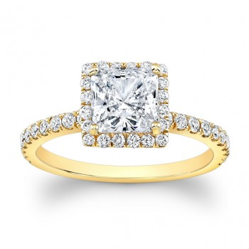 18K Yellow Gold Paloma Halo Diamond Engagement Ring