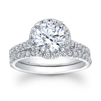 14K White Gold Bernadette Halo Round Diamond Engagement Ring Set