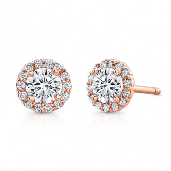 14 Kt  Rose Gold Sienna Halo Studs
