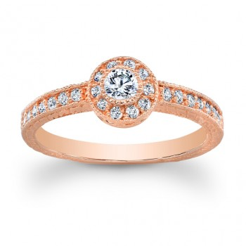 14K Rose Gold Ruby Vintage Halo Round Diamond Engagement Ring