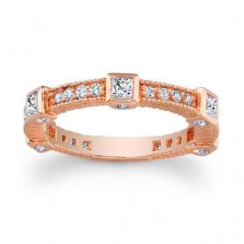 14kt Rose Gold Band with Princess Cuts Abby